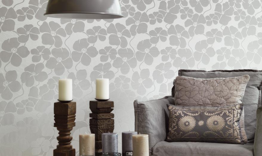 Papel de parede com estampa floral