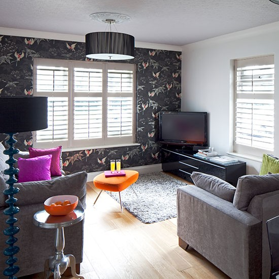 Sala Pequena Papel De Parede ~ Sala pequena decorada com papel de parede