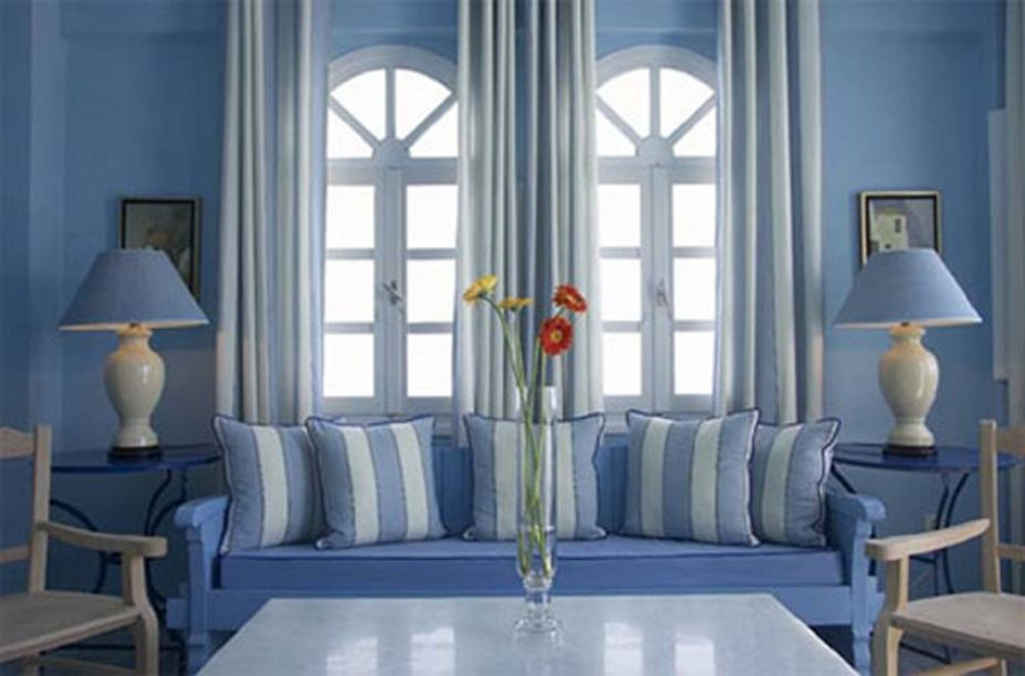 Casa decorada toda azul