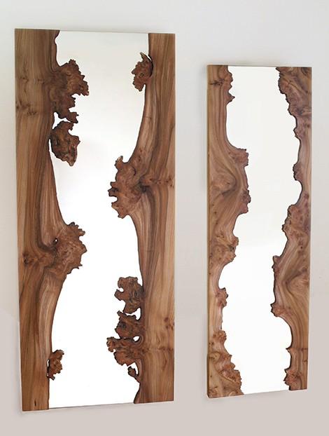 Espelhos com um toque de madeira