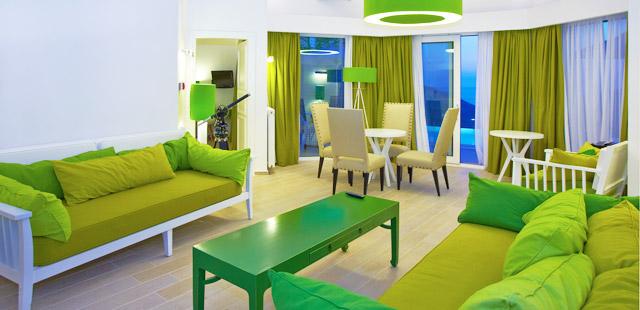 Decoração da sala em verde e amarelo