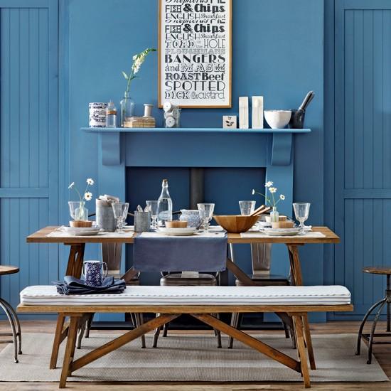Sala de jantar toda em azul
