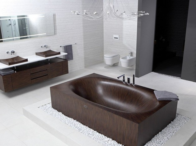 Banheira Laguna  linda feita toda em madeira -> Tamanho Mínimo De Banheiro Com Banheira