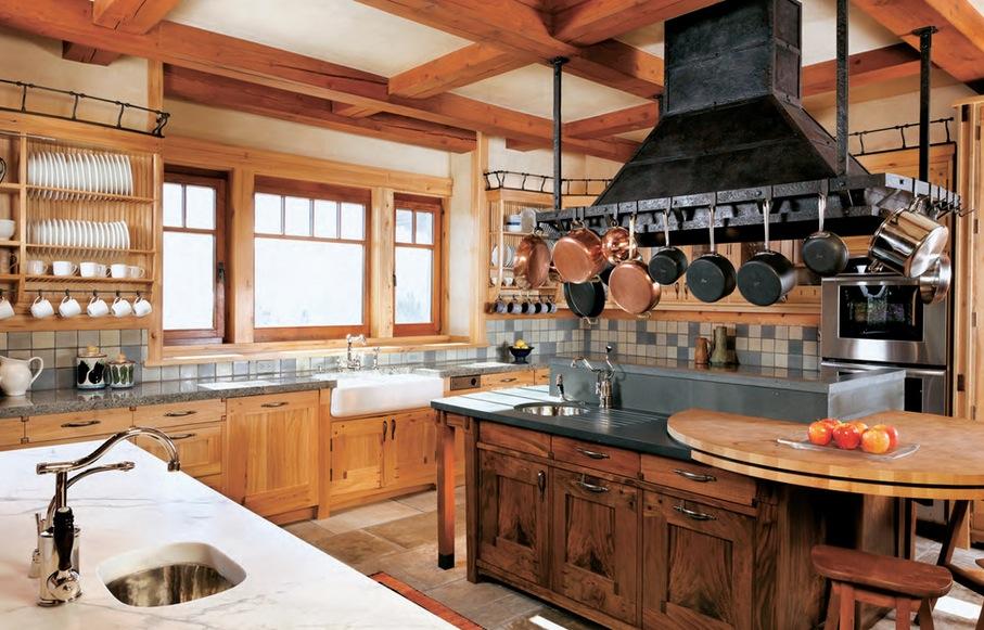 Madeira na cozinha rustica