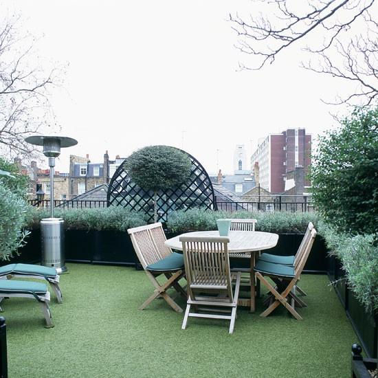 Um terraço verde