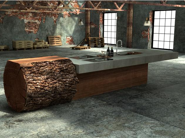 Uma cozinha com uma mistura rustica e industrial