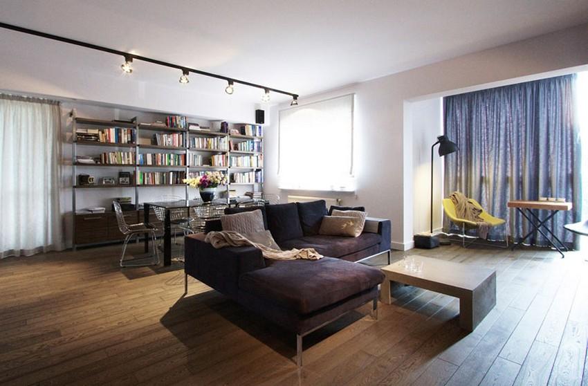 Um apartamento moderno com cara de industrial
