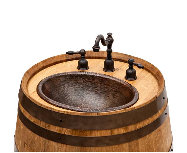 Incrivel Pia de Barril Reciclado de Vinho